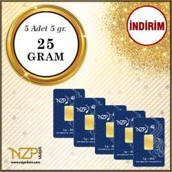 25 Gram (5 x 5) Gram Altın - NZP Gold