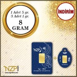 8 Gram (5 GR+3 AD 1GR) Gram Altın - NZP Gold