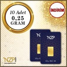 2.5 Gram (10 x 0.25) Gram Altın