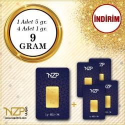 9 Gr (5 Gr +4 Adet 1 Gr) Gram Altın - NZP Gold