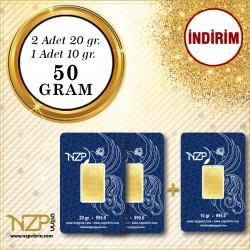 50 Gram (2 Ad 20gr + 1 Ad 10gr) Gram Altın
